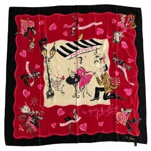 DKNY Silk Scarf Red Cafe D'Amour 35in Love Theme